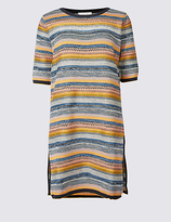 Per Una Cotton Blend Striped Tunic Jumper