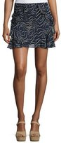 Derek Lam 10 Crosby Ruffled Silk Mini Skirt, Navy