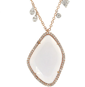 Meira T 14K Rose Gold 7.26 Ct. Tw. Diamond & Chalcedony Necklace