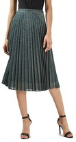 Topshop Women's Glitter Pleated Midi Skirt