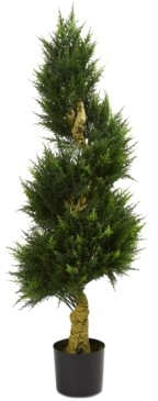 Nearly Natural 4.5' Spiral Cypress Uv-Resistant Indoor/Outdoor Artificial Tree