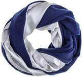 Black Double Size Silver Silk and Navy Cashmere Snood
