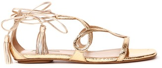 Aquazzura Metallic Leather Flat Sandals With Snake Print