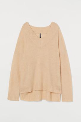 H&M Oversized Wool-blend Sweater - Beige