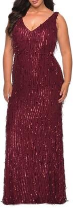 La Femme Sequin Column Gown