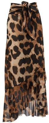 Ganni Leopard-print Wrap Mesh Skirt - Leopard