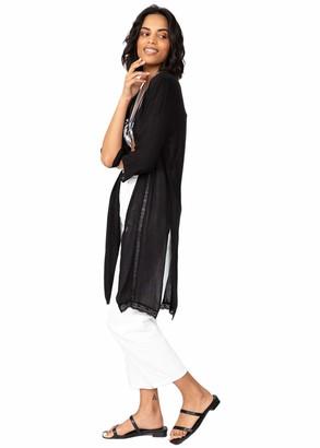 likemary Summer Cover Up Crinkle Kimono Kaftan Lace Trim Black M/L