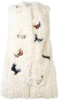 Valentino butterfly embroidered gilet - women - Silk/Cotton/Polyester/Lamb Fur - 42