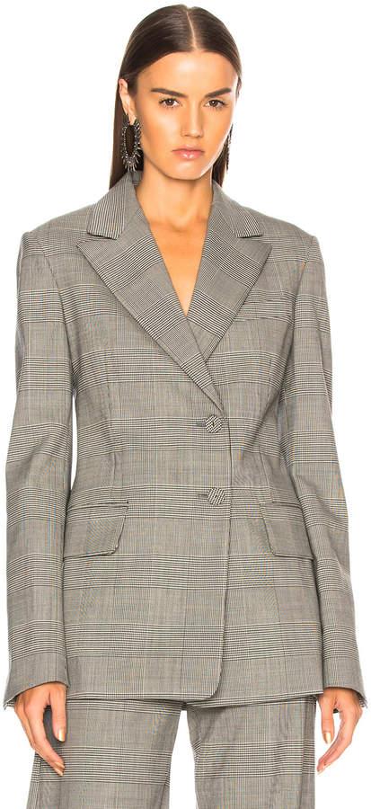 Proenza Schouler Plaid Wool Blazer in Black & Off White Plaid | FWRD