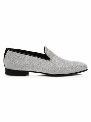 Corthay Oscar Glitter Leather Slip-On Shoes