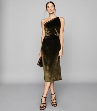Reiss Eden Velvet - Velvet One Shoulder Dress in Khaki