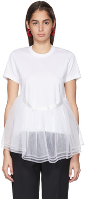 Noir Kei Ninomiya White Tulle Detail T-Shirt