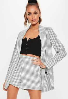 Missguided Grey Checked Co Ord Mini Shorts
