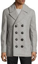 Burberry Wool-Cashmere Pea Coat, Gray