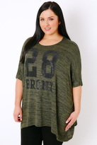 "Yours Clothing Khaki Oversized Top With ""Bronx"" Embellished Slogan"