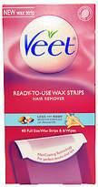 Veet Legs & Body Ready To Use Wax Strips Kit 40 Wax Strips, 6 Wipes 2 Pc Kit