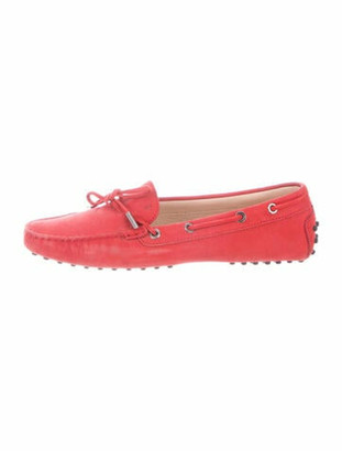 Tod's Leather Bow Accents Loafers Red