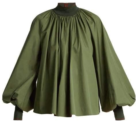 Roksanda Madora Balloon Sleeve Cotton Top - Womens - Dark Green