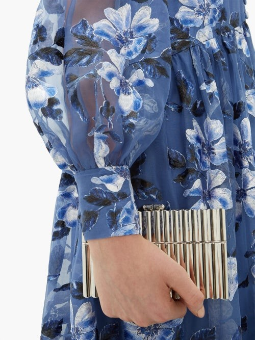 Thumbnail for your product : Erdem Tabetha Floral-embroidered Silk-organza Gown - Blue