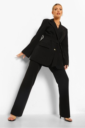 boohoo Pleat Front Slim Fit Trousers