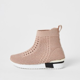 River Island Mini girls Pink knitted high top trainers