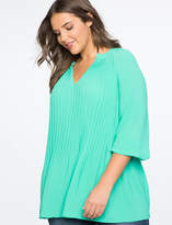 ELOQUII Pleated V-Neck Top