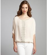 Chelsea Flower nude silk embroidered dolman blouse