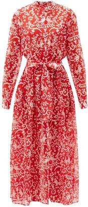 Saloni Inez Phoenix-print Cotton-blend Shirt Dress - Red White