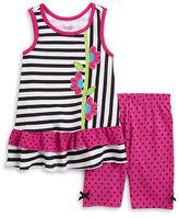 Nannette Girls 2-6x Girls Mixed Patterned Dress and Polka Dot Leggings Set