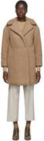 Harris Wharf London Beige Shearling Double Breasted Coat