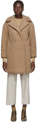 Harris Wharf London Beige Shearling Double Breasted Coat
