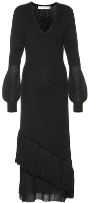 Victoria Beckham Knit ruffled midi dress