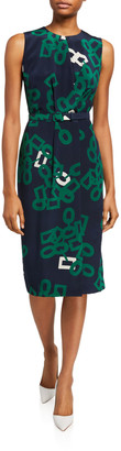 Lafayette 148 New York Jude Falling Link Print Sleeveless Belted Silk Dress