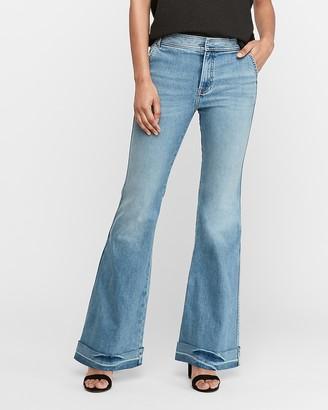 Express High Waisted Original Cuffed Hem Bell Flare Jeans