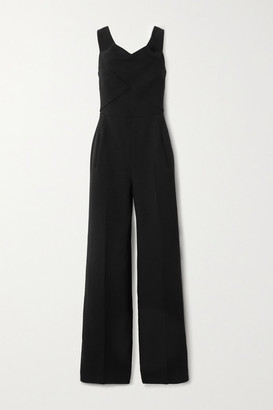 Roland Mouret Harran Off-the-shoulder Pleated Wool-crepe Jumpsuit - Black