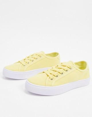 ASOS DESIGN Dizzy lace up sneakers in lemon