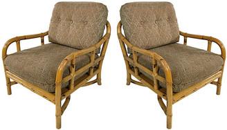 One Kings Lane Vintage Ficks Reed Rattan Lounge Chairs - Set of 2 - Tobe Reed