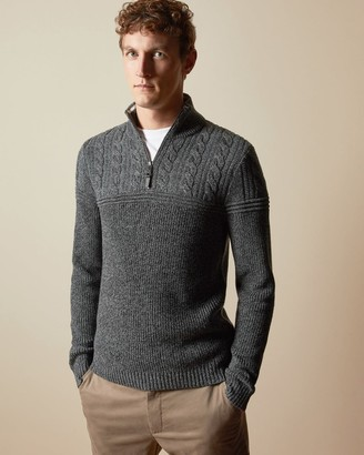 Ted Baker Cotton Blend Cable Knit Funnel Neck Jumper
