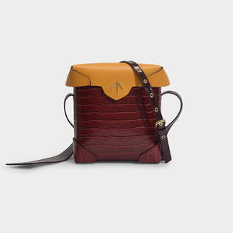 Atelier Manu Mini Pristine Combo Bag In Mustard And Wine Vegetable Tanned, Croc Printed And Patent Leathers
