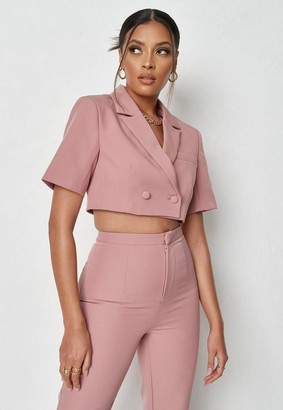 Missguided Co Ord Tailored Cropped Short Sleeve Blazer