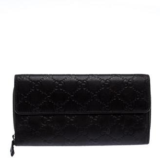Gucci Dark Brown Guccissima Leather Flap Zip Around Continental Wallet