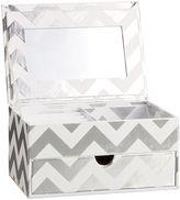 Jane Jewelry Storage, Small Metallic Box, Silver Chevron