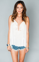 MUMU Teeny Tassel Tank Top ~ White Cloud
