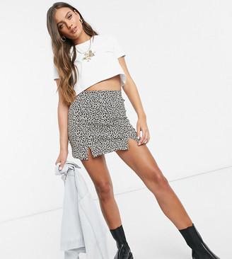 Topshop Petite bengaline leopard print mini skirt in tan