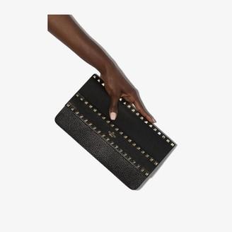 Valentino Black Rockstud leather clutch bag