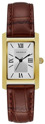 Caravelle Designed by Bulova Women's 44L234 Rectangular Gold-Tone Stainless Brown Leather Strap Watch