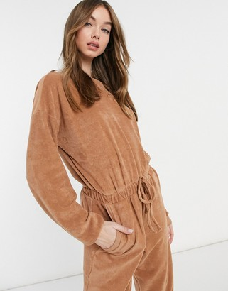 ASOS DESIGN towelling button back trackie jumpsuit in camel