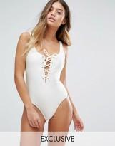 South Beach Lattice Plunge Swimsuit