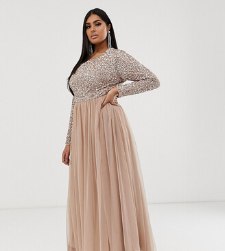 Maya Plus Bridesmaid long sleeve maxi tulle dress with tonal delicate sequins in taupe blush-Brown