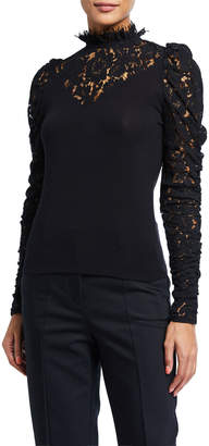 Generation Love Tamra High-Neck Lace Long-Sleeve Top